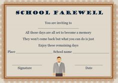 Farewell Party Invitation Template: 23 Custom Party intended for Farewell Certificate Template - Best & Professional Templates Ideas Farewell Party Invitations, Custom Party Invitations, Farewell Parties, Invitation Templates, Blank Certificate Template, Certificate Format, Printable Certificates, Name Signature, You Are Invited