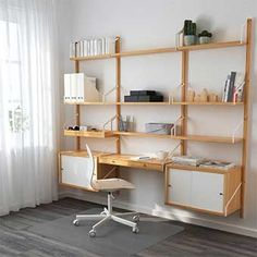 IKEA - SVALNÄS, Wall-mounted workspace combination, bamboo, white, With a spacious storage solution everything has its place; makes it easy to find your things. Hide or display your things by combining open and closed storage. Floating Shelves Bathroom, Rustic Floating Shelves, Modular Shelving, Shelving Systems, Shelf System, Svalnäs Ikea, Ikea 2018, Desk Shelves, Glass Shelves