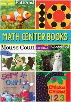 Math center books to read. Best math center books for Pre-K and Kindergarten. A book list for preschool and pre-k about basic math skills. Preschool Age, Preschool Books, Free Preschool, Preschool Learning, Fun Math Games, Literacy Activities, Math Books, Kid Books, Kindergarten Math