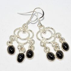 "Midnight Black Onyx with.925 SILVER FILLED Earrings 1.8""/NF-151046 $19.9"