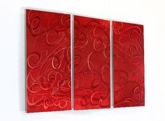 Red Abstract Metal Wall Decor, Large Contemporary Metal Wall Art ...
