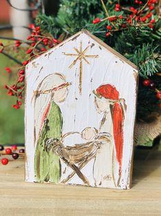 Nativity Painting, Diy Nativity, Christmas Nativity Scene, Rustic Christmas, Christmas Ornaments, Nativity Scenes, Christmas Bells, Felt Ornaments, Church Christmas Craft