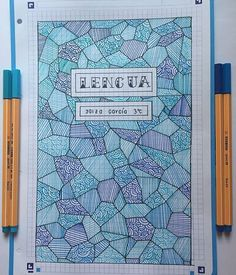 Patterns are incredibly beautiful and soothing to draw. Try one of these pattern cover page ideas in your next bullet journal monthly setup. Bullet Journal School, Bullet Journal Titles, Bullet Journal Banner, Bullet Journal Notebook, Bullet Journal Inspo, Notebook Cover Design, Notebook Art, Lettering Tutorial, Hand Lettering