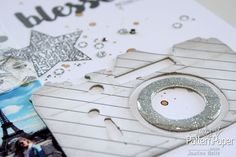 metallic silver and white - covered die cut