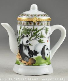 Chinese Porcelain Superb Hand Painting Lovely Panda Tea Pot Shape Toothpick Box | the Teapots Collectionary