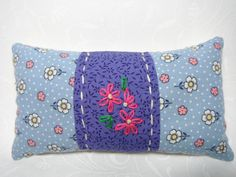 Pin Cushion Pin Keep Fabric Pin Holder Sewing Notions 40s Reproduction fabric Blue Pink Sewing Notions Crushed English Walnut Shell Filling by TheCopperFinch on Etsy