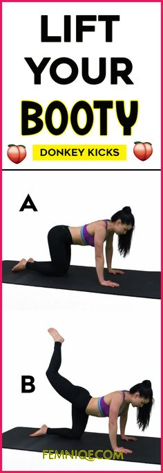 Powerful Butt Lifting Exercises For Women at home - want a bigger buttocks workout that works? Then give donkey kicks a try! Its one of the best butt exercises for women! Buttocks Workout, Squat Workout, Workout Tips, Workout Plans, Hourglass Figure Workout, Calf Exercises, Weight Transformation, Donkey Kicks, Ways To Lose Weight