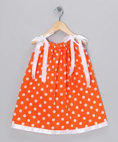 Take a look at this Orange & White Polka Dot Swing Dress - Infant, Toddler & Girls by Cozy Bug on #zulily today!