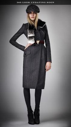 Burberry Fur Collar Herringbone Top Coat