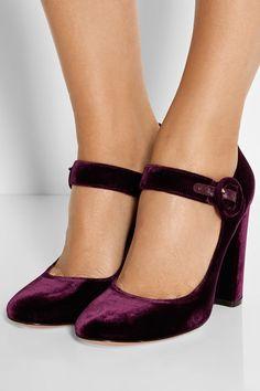 Heel measures approximately 100mm/ 4 inches Burgundy velvet Buckle-fastening strap Designer color: Royal