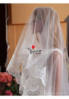 Wedding Veil One Layer Tulle Bridal Veil Applique Veil No Comb Style BV088 - Wedding Veil