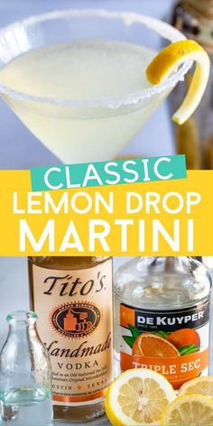This Classic Lemon Drop Martini Recipe is a lemontini everyone will love. Lemon Drops are made with vodka, lemon, triple sec and simple syrup and are so refreshing. This is a delicious and easy cocktail recipe. Lemon Drop Martini, Lemon Drop Drink, Lemon Drop Shots, Lemon Drop Cocktail, Bar Drinks, Cocktail Drinks, Yummy Drinks, Alcoholic Drinks, Simple Cocktail Recipes