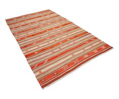 "Vintage Anatolian Kilim in Persimmon Stripes 5'7"" x 9' 