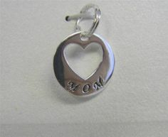 925 Sterling Silver Heart Love to Mom Keepsake Hanging Charm
