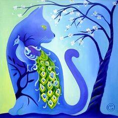 tomcat - Schilderij,  40x40 cm ©2010 door Tetiana Gorbachenko -            paintings