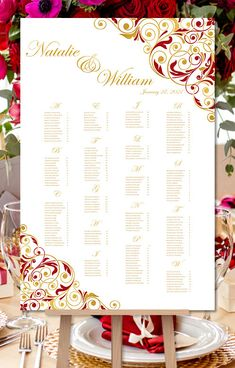 Wedding Seating Chart Poster Confetti Gold Reception Seating