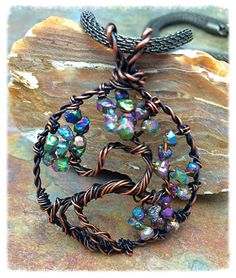 Bonsai Tree of Life Wire Wrapped Necklace with Genuine Druzy Agate