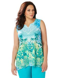 Embrace the lush beauty of the tropics with this island-inspired tank. The floral motif feels relaxed, while the subtle geo pattern gives a modern touch. Delicate beaded crochet detailing around the neckline adds a perfect finish. Notched scoop neckline. Sleeveless. Catherines tops are perfectly proportioned for the plus size woman. catherines.com