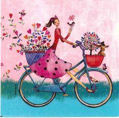 Decoupage Paper Napkins , Rice Paper, Party Napkins, by Chiarotino Decoupage Glass, Paper Napkins For Decoupage, Napkin Rose, Art Fantaisiste, Bicycle Art, Whimsical Art, Paper Design, Cute Art, Paper Art