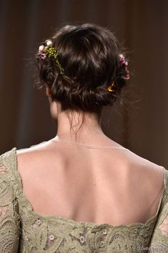 Twist and Tuck Bohemian Updo with Floral Pins.