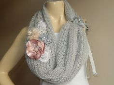 Grey Infinity  Scarf-Hand Knit Loop Scarf-Gray Neckwarmer/ Cowl With Brooch