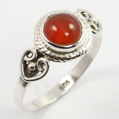 Vintage Style Ring Size US 5.75 Natural CARNELIAN Gemstone 925 Sterling Silver #SunriseJewellers