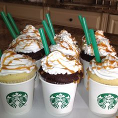 Starbucks theme gluten free cupcakes for my daughters 14th birthday!