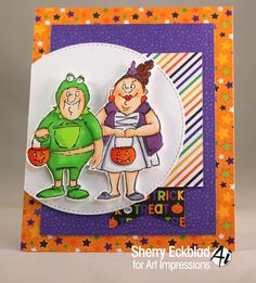 Art Impressions Rubber Stamps: Trick or Treat Set (4524) Handmade Halloween card!