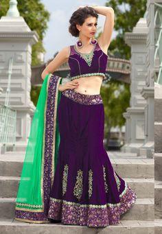 Desginer Lehenga ! Purple Velvet Semi Stitch Lehenga with Green Velvet Choli And Purple Net Dupatta   INR:-12,770 -With Exciting 25% Discount !