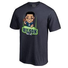 Men's NFL Pro Line Russell Wilson College Navy Seattle Seahawks Player Emoji T-Shirt