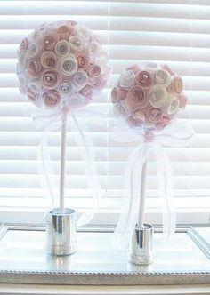 DIY Home Decor : DIY Paper Rose Topiaries