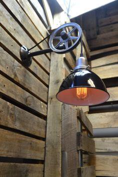 Wall Pendant  Pulley Light  Wheel Light  by UnionHilIronWorks https://www.etsy.com/shop/UnionHilIronWorks