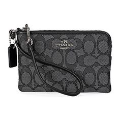 Coach Corner Zip Wristlet Black Smoke -- Learn more by visiting the image link. (This is an Amazon affiliate link)