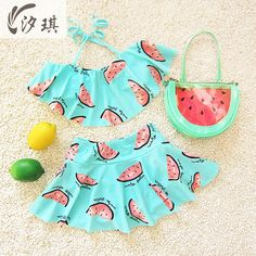 xiqi bikini girl child summer two pieces swimsuit for girls swimming watermelon kids bathing suit mermaid tail girls swimming