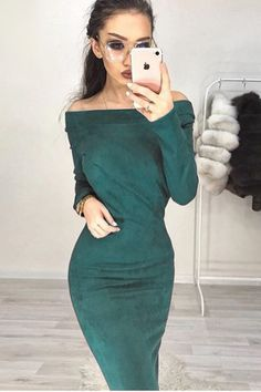 Hugcitar Suede Long Sleeve off shoulder Women mid-calf Dress 2018 Autumn Winter Female sexy Bodycon new year party Dresses Elegant Midi Dresses, Fitted Dresses, Fall Dresses, Party Dresses, Club Dresses, Ladies Dresses, Wrap Dresses, Dress Party, Bodycon Dress Parties
