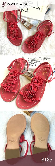 KATE SPADE Caryl red rosette t-strap sandals T-strap with Rosette embellishment. Intertwined ankle strap w/ adjustable buckle closure. Color: red. Leather upper. Leather lining. Leather sole. Size: 6.5. NWB. Never worn. Store handled. Comes in original box. Can provide more info and pictures upon request. kate spade Shoes Sandals