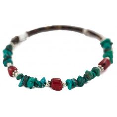 $80 Retail Tag Navajo Made by Charlene Little Authentic Natural Turquoise Heishi Coral Native American Wrap Bracelet