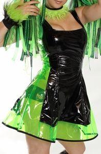 Vinyl Dolls: Black and Clear Lime Green Vinyl Dress