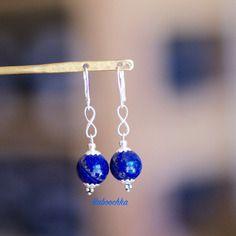 Boucles d'oreilles en argent 925 lapis lazuli d'aghanistan