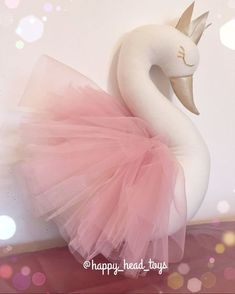 Princess swan. Dusty pink color wings ivory color от HappyHeadToys