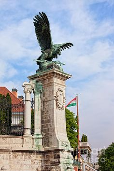 Mythical Turul Bird, bronze statue from 1905, located next to the Buda Castle in Budapest, Hungary.