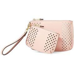 Lauren Ralph Lauren Women's Two-Piece Lauderdale Small and Medium... ($49) ❤ liked on Polyvore featuring bags, handbags, blush, faux-leather handbags, faux leather purses, real leather purses, perforated handbags and pink purse