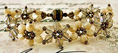 Linda's Crafty Inspirations: Bracelet of the Day: Crystal Flower Bracelet - Ivory
