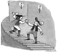"""""""We're never going to resolve this if you won't get your own sword.""""  Slide Show: New Yorker Cartoons November 16, 2015 - The New Yorker"""