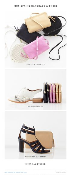 still life womens accessories social media email content Steven Alan Email Design Newsletter Layout, Email Layout, Email Newsletter Design, Fashion Bags, Fashion Shoes, Fashion Web Design, Foto Still, Email Template Design, Email Design Inspiration