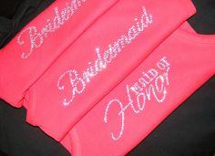 Red Wedding Theme Ideas Bride Bridesmaid Crystal Rhinestone Jeweled Bling Tank Top Shirt Bridesmaid Gift Ideas