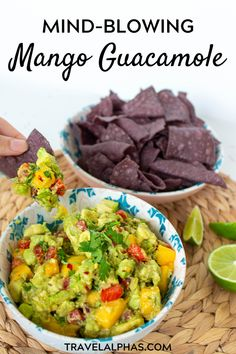 Want to know how to make the best mango guacamole dip ever? Take it from a Southern Californian chick: this mouthwatering recipe is super quick easy healthy delicious and authentic. It's the ultimate crowd-pleaser and the perfect thing to bring to a p Vegan Appetizers, Vegan Snacks, Easy Snacks, Healthy Snacks, Easy Meals, Delicious Vegan Recipes, Easy Healthy Recipes, Yummy Food, Mango Recipes