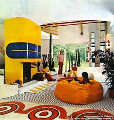home Chantilly - Maison dHenri Delord Dcoration: Garrault-Delord: Henri Delord, Jean-Pierre Garrault Cration: 1972 1970s Decor, 70s Home Decor, Vintage Decor, Retro Interior Design, Retro Design, Design Design, Modern Interior, 70s Furniture, Deco Retro