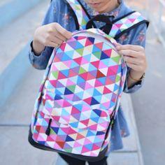 Preppy Look Colorful Plaid Canvas Backpack Laptop Bag