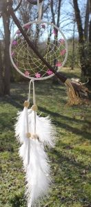 Magical Journeys Dreamcacher - with a small silver witch pendant hanging from the center and a large leather wrapped broom that stretches across the dreamcatcher. 13  glass stars encircle the witch on her journey through the night.. this one is filled with the purest of sweet slumber magic.
